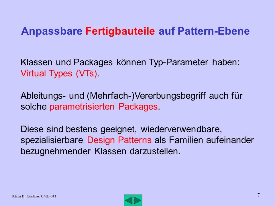 8 Klaus D.Günther, GMD-SIT Fortsetzung Pattern-Ebene Override-View auch für Design Patterns.