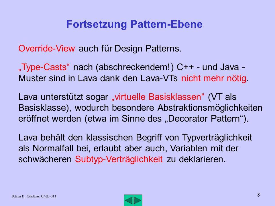 8 Klaus D. Günther, GMD-SIT Fortsetzung Pattern-Ebene Override-View auch für Design Patterns.