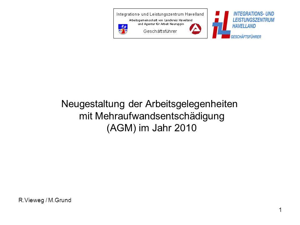 1 Neugestaltung der Arbeitsgelegenheiten mit Mehraufwandsentschädigung (AGM) im Jahr 2010 R.Vieweg / M.Grund