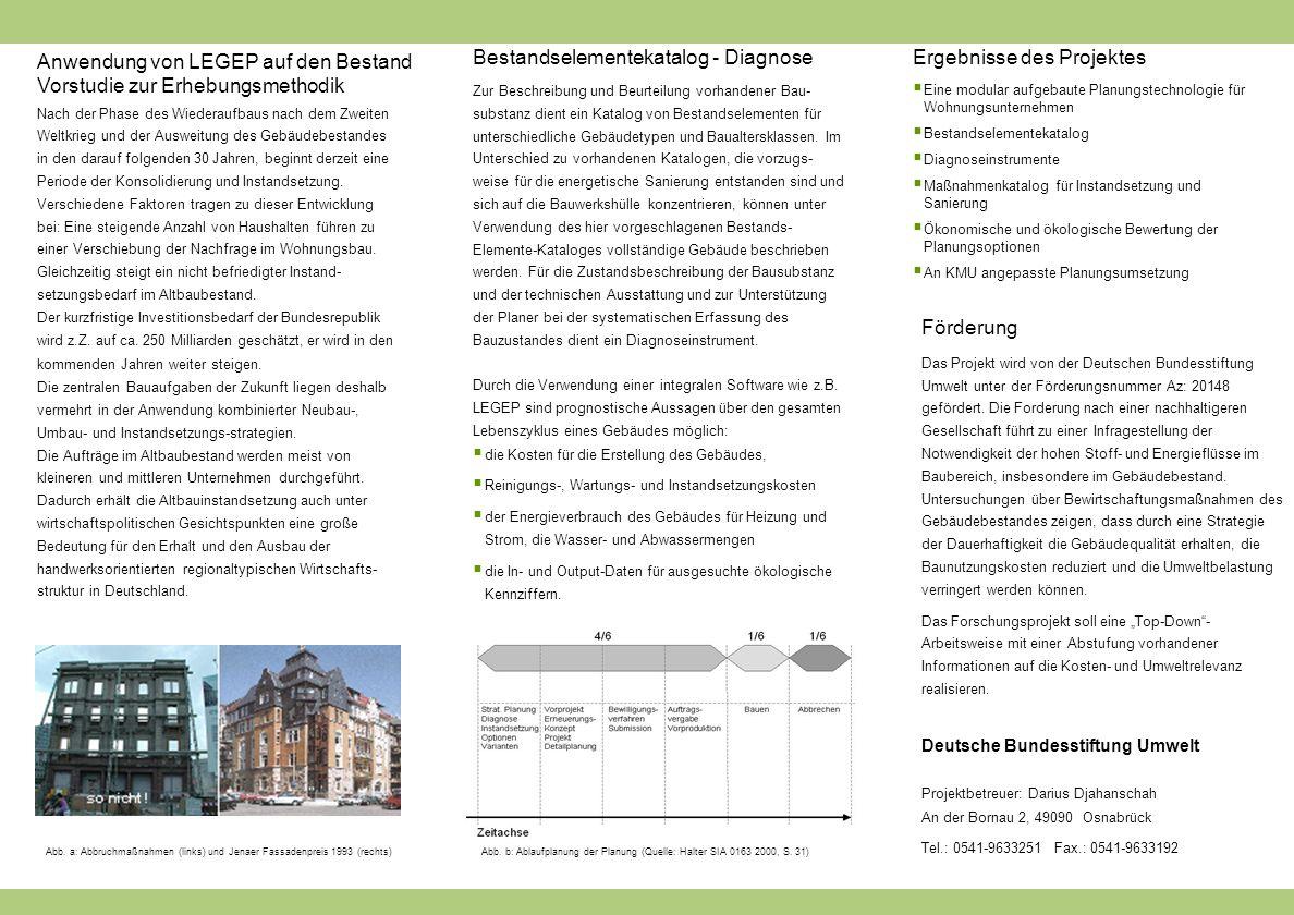 Anwendung von LEGEP auf den Bestand Vorstudie zur Erhebungsmethodik Nach der Phase des Wiederaufbaus nach dem Zweiten Weltkrieg und der Ausweitung des Gebäudebestandes in den darauf folgenden 30 Jahren, beginnt derzeit eine Periode der Konsolidierung und Instandsetzung.