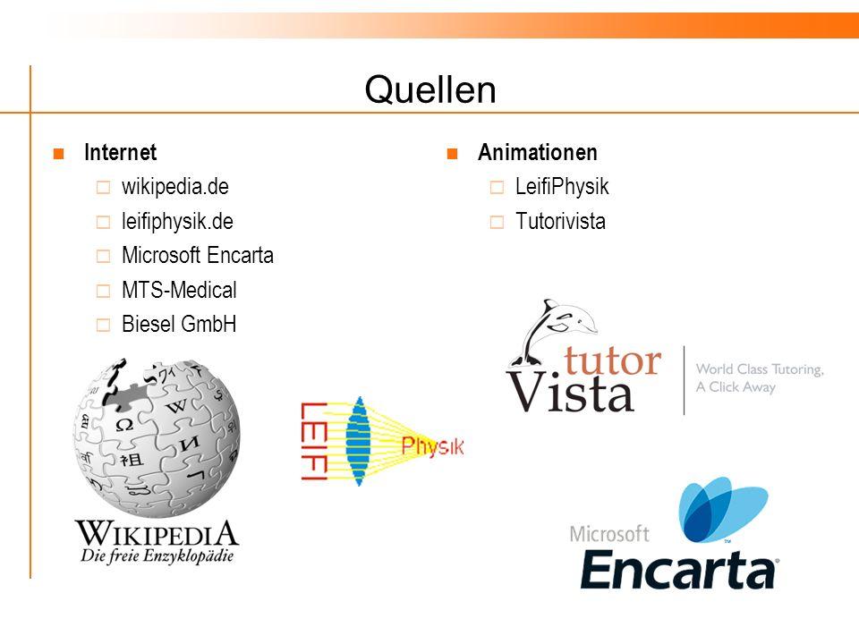 Quellen Internet wikipedia.de leifiphysik.de Microsoft Encarta MTS-Medical Biesel GmbH Animationen LeifiPhysik Tutorivista