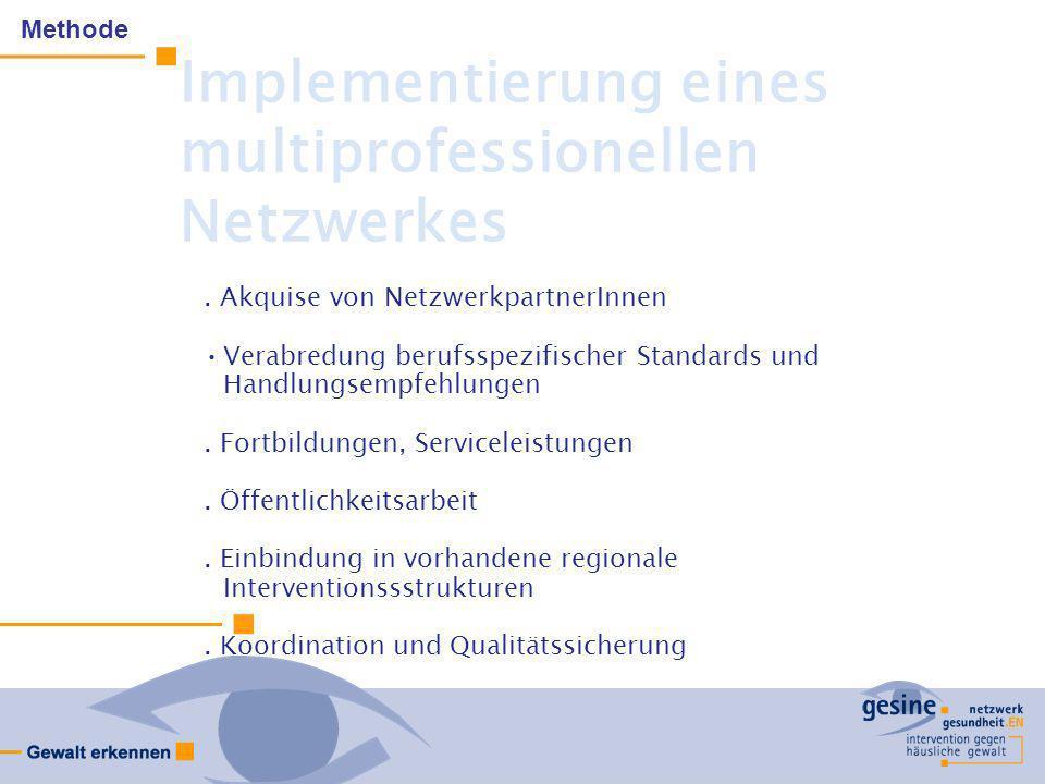 Implementierung eines multiprofessionellen Netzwerkes. Akquise von NetzwerkpartnerInnen Verabredung berufsspezifischer Standards und Handlungsempfehlu