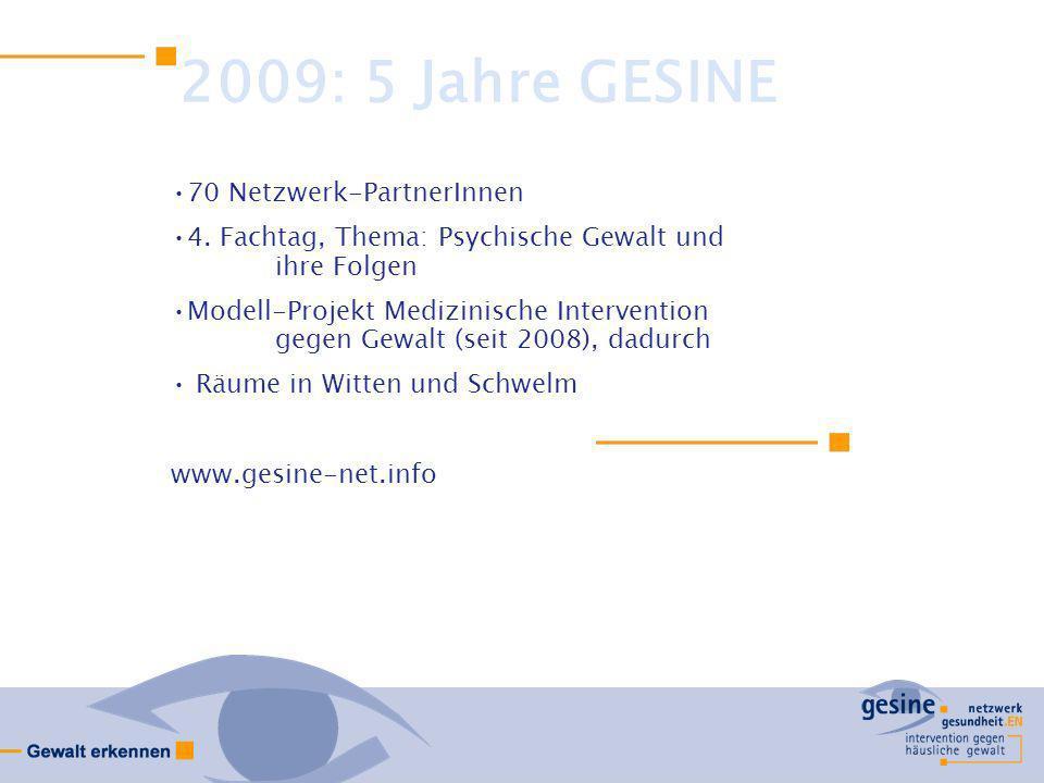 2009: 5 Jahre GESINE 70 Netzwerk-PartnerInnen 4. Fachtag, Thema: Psychische Gewalt und ihre Folgen Modell-Projekt Medizinische Intervention gegen Gewa