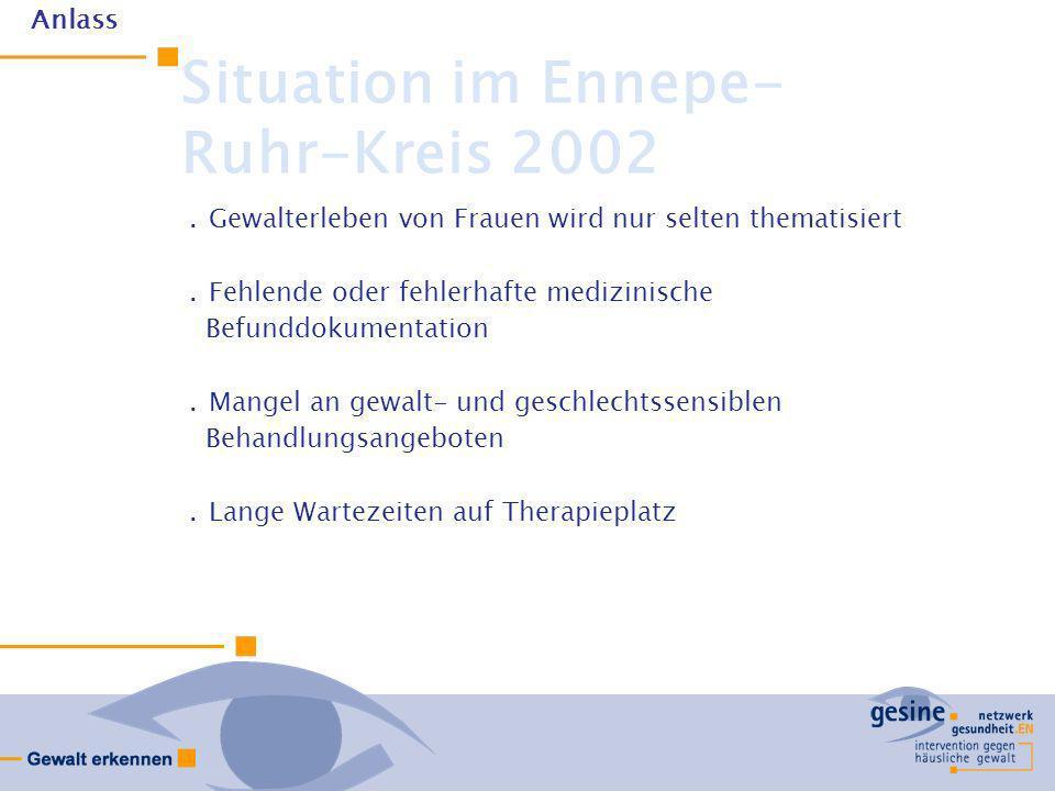 Situation im Ennepe- Ruhr-Kreis 2002.Gewalterleben von Frauen wird nur selten thematisiert.Fehlende oder fehlerhafte medizinische Befunddokumentation.