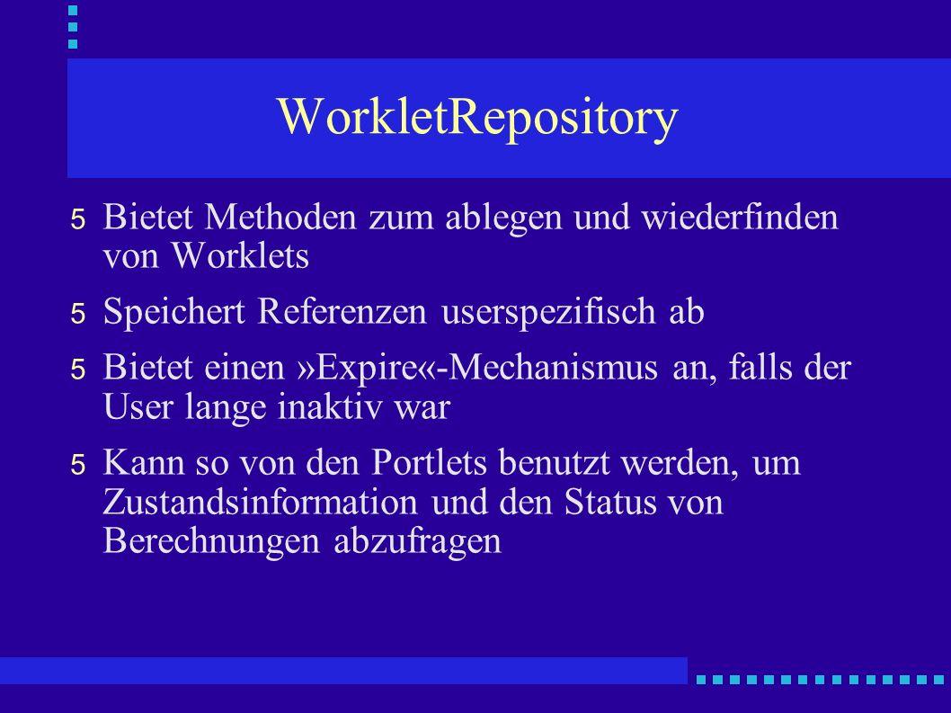 WorkletRepository 5 Bietet Methoden zum ablegen und wiederfinden von Worklets 5 Speichert Referenzen userspezifisch ab 5 Bietet einen »Expire«-Mechani