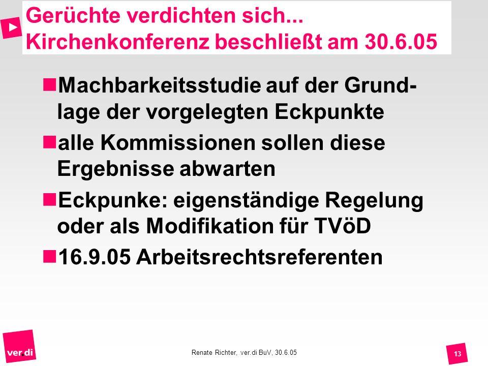 Renate Richter, ver.di BuV, 30.6.05 13 Gerüchte verdichten sich... Kirchenkonferenz beschließt am 30.6.05 Machbarkeitsstudie auf der Grund- lage der v