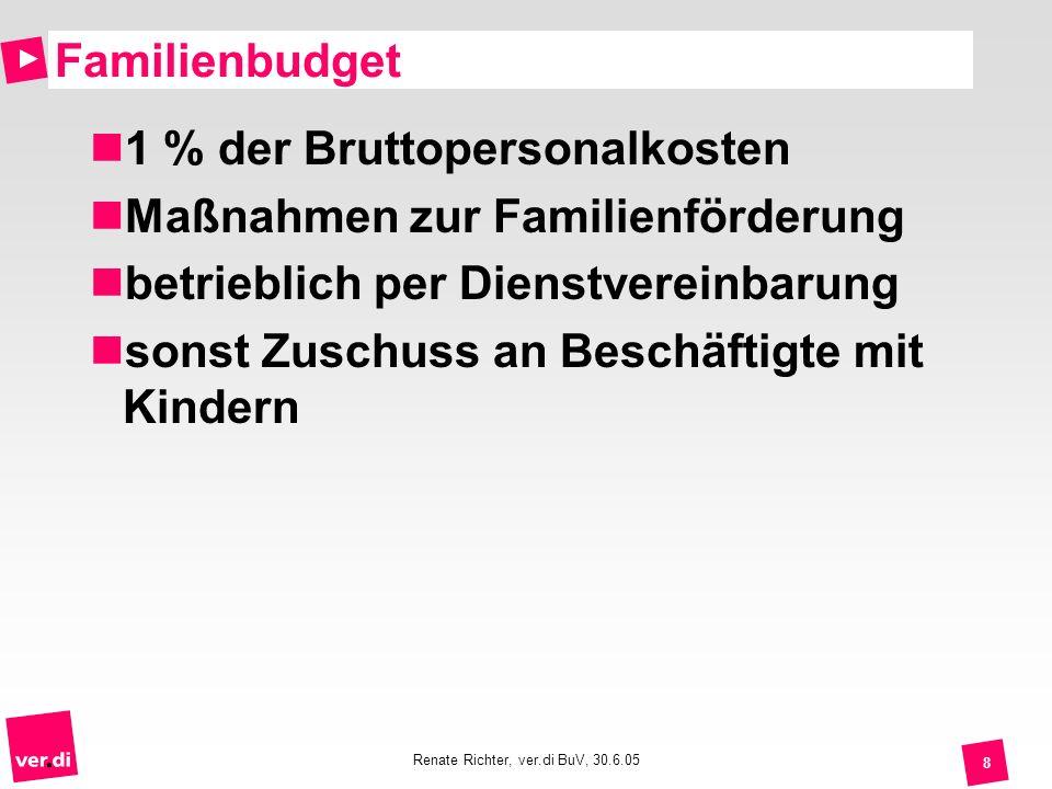 Renate Richter, ver.di BuV, 30.6.05 8 Familienbudget 1 % der Bruttopersonalkosten Maßnahmen zur Familienförderung betrieblich per Dienstvereinbarung s