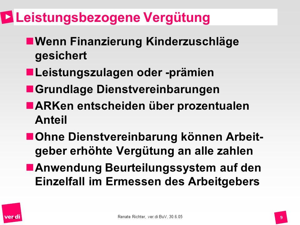 Renate Richter, ver.di BuV, 30.6.05 9 Leistungsbezogene Vergütung Wenn Finanzierung Kinderzuschläge gesichert Leistungszulagen oder -prämien Grundlage