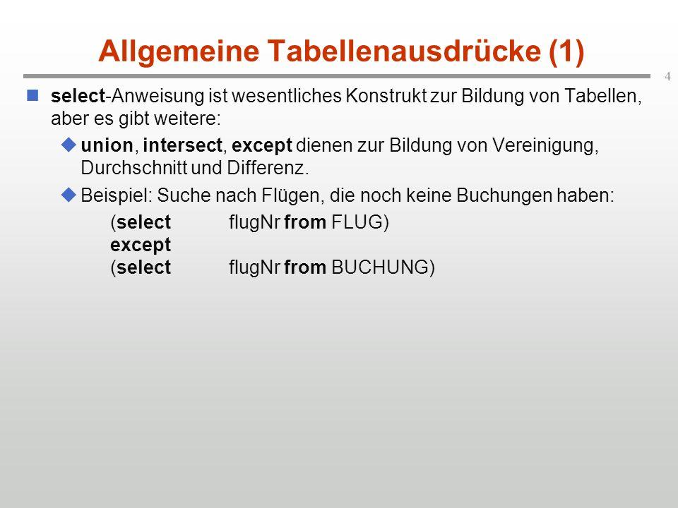 4 Allgemeine Tabellenausdrücke (1) select-Anweisung ist wesentliches Konstrukt zur Bildung von Tabellen, aber es gibt weitere: union, intersect, except dienen zur Bildung von Vereinigung, Durchschnitt und Differenz.