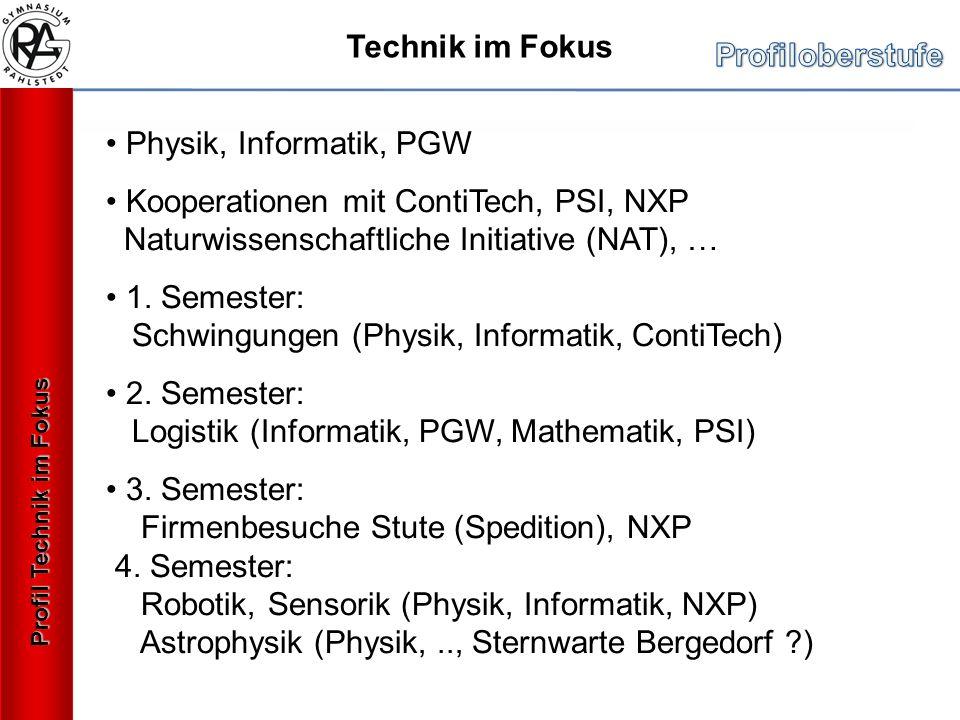 Profil Technik im Fokus Technik im Fokus Physik, Informatik, PGW Kooperationen mit ContiTech, PSI, NXP Naturwissenschaftliche Initiative (NAT), … 1. S