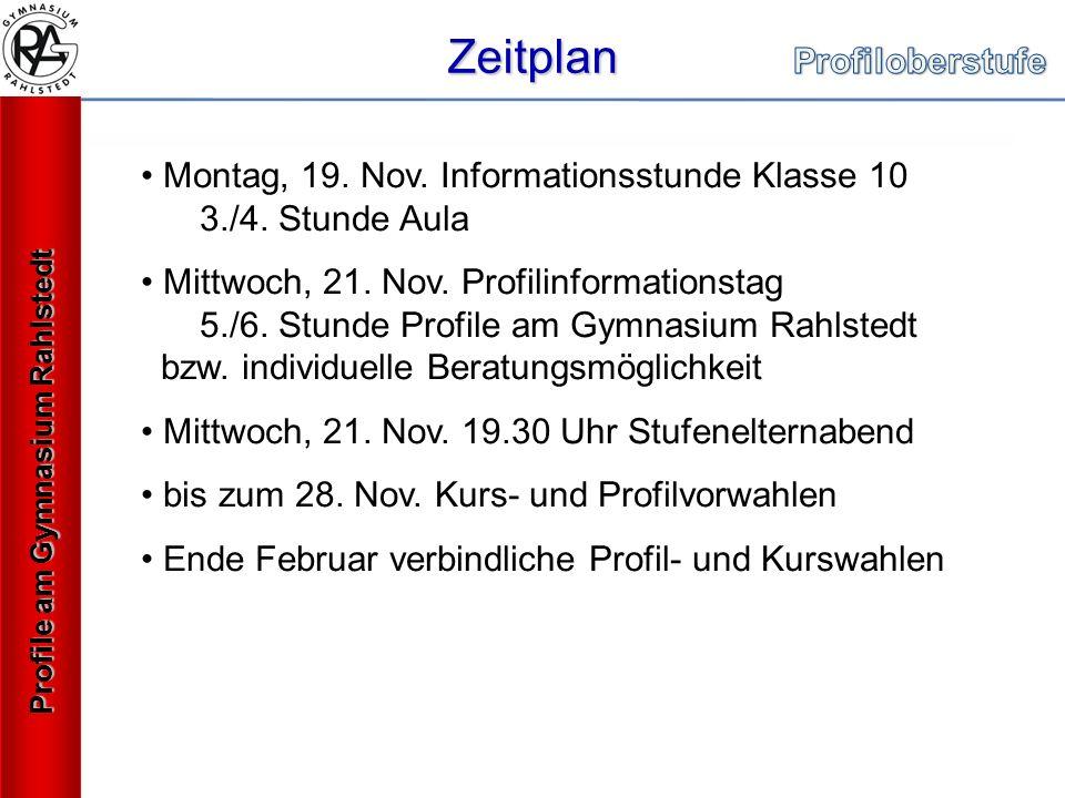 Zeitplan Profile am Gymnasium Rahlstedt Montag, 19.