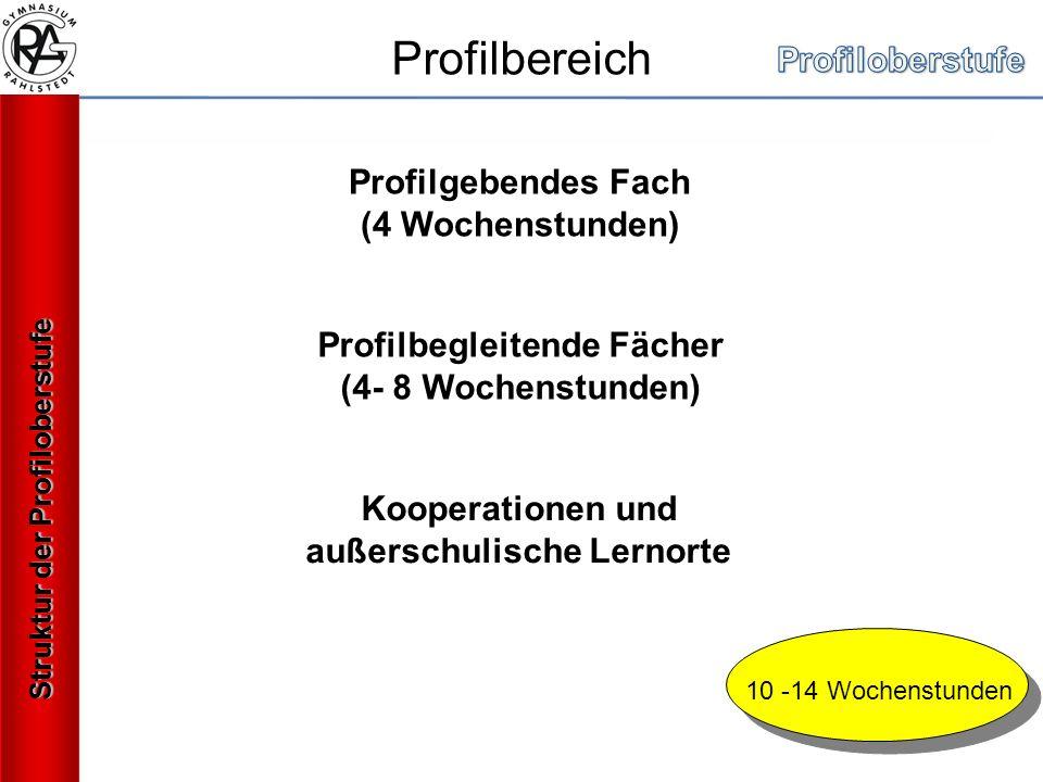 Profilbereich Profilgebendes Fach (4 Wochenstunden) Profilbegleitende Fächer (4- 8 Wochenstunden) Kooperationen und außerschulische Lernorte 10 -14 Wochenstunden Struktur der Profiloberstufe