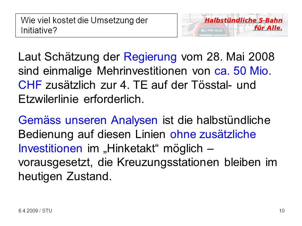6.4.2009 / STU10 Wie viel kostet die Umsetzung der Initiative.