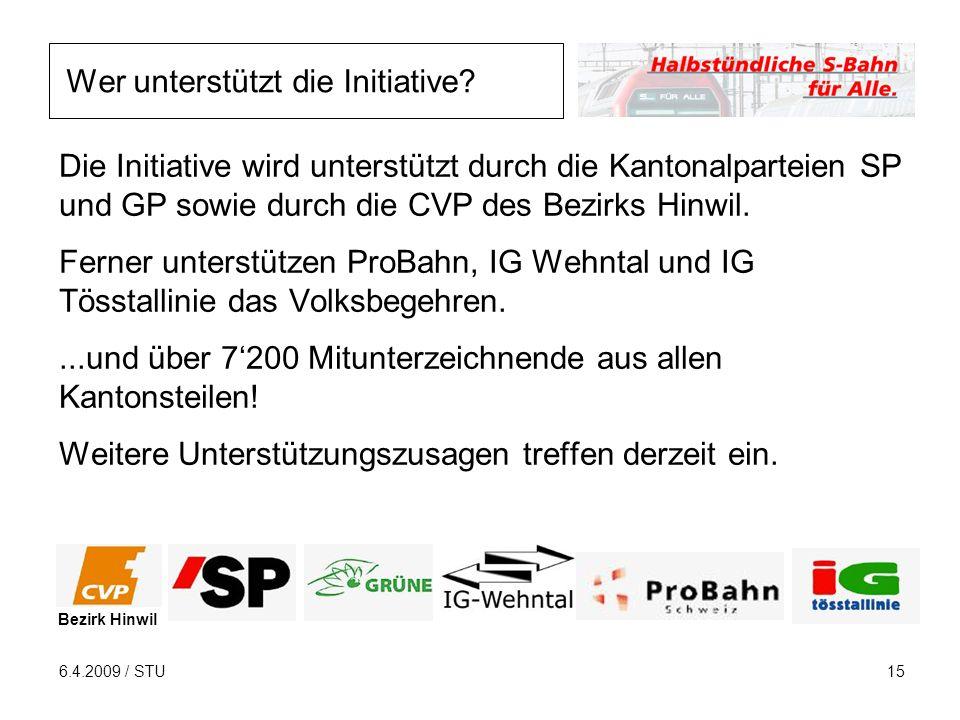 6.4.2009 / STU15 Die Initiative wird unterstützt durch die Kantonalparteien SP und GP sowie durch die CVP des Bezirks Hinwil.