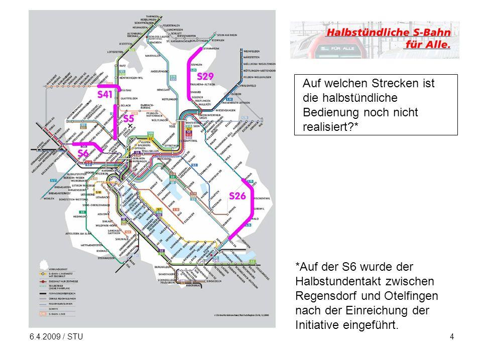 6.4.2009 / STU4 Auf welchen Strecken ist die halbstündliche Bedienung noch nicht realisiert * *Auf der S6 wurde der Halbstundentakt zwischen Regensdorf und Otelfingen nach der Einreichung der Initiative eingeführt.