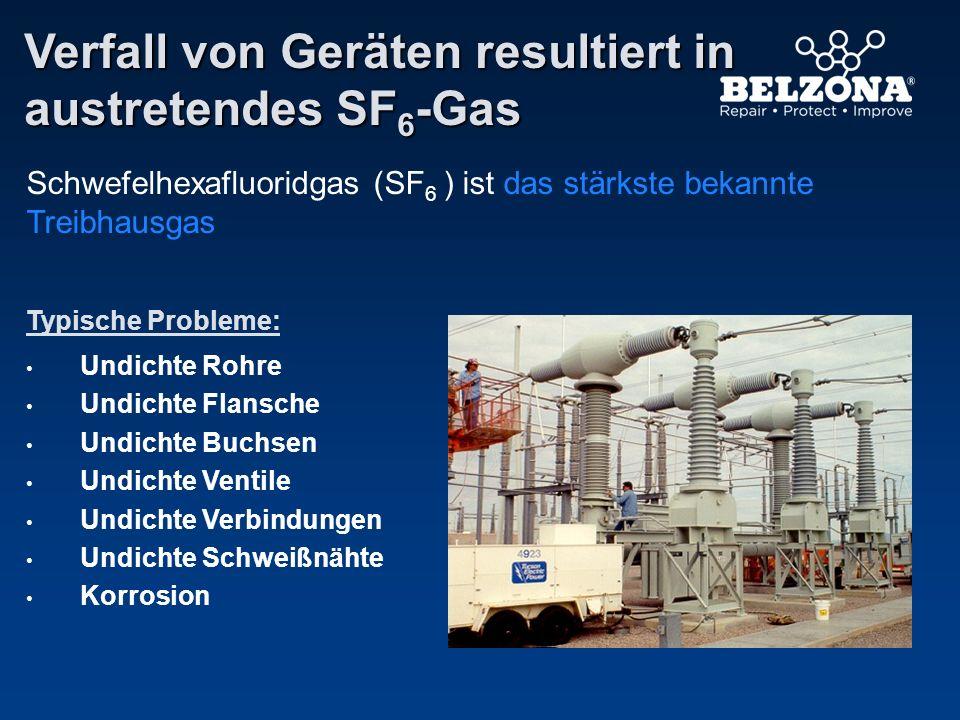 Verfall von Geräten resultiert in austretendes SF 6 -Gas Typische Probleme: Undichte Rohre Undichte Flansche Undichte Buchsen Undichte Ventile Undicht