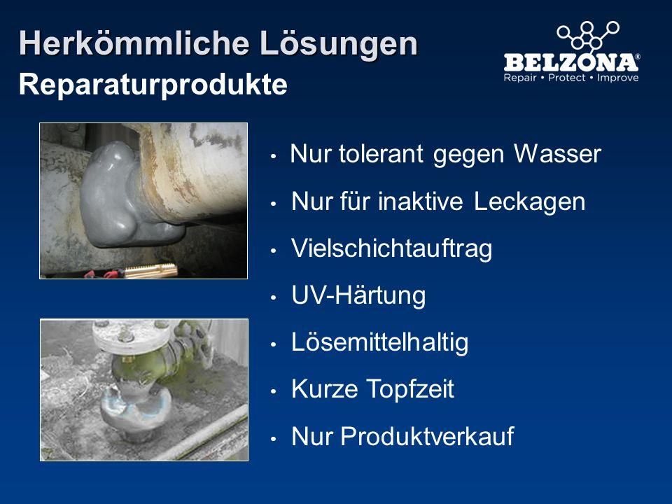 Herkömmliche Lösungen Reparaturprodukte Nur tolerant gegen Wasser Nur für inaktive Leckagen Vielschichtauftrag UV-Härtung Lösemittelhaltig Kurze Topfz
