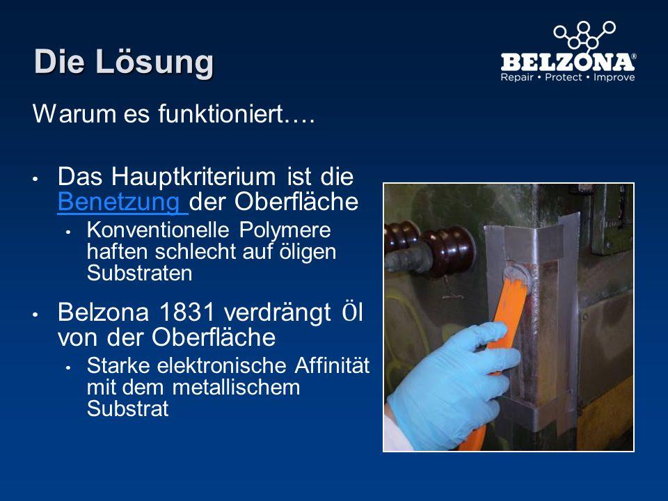 Die Lösung Warum es funktioniert…. Das Hauptkriterium ist die Benetzung der Oberfläche Konventionelle Polymere haften schlecht auf öligen Substraten B