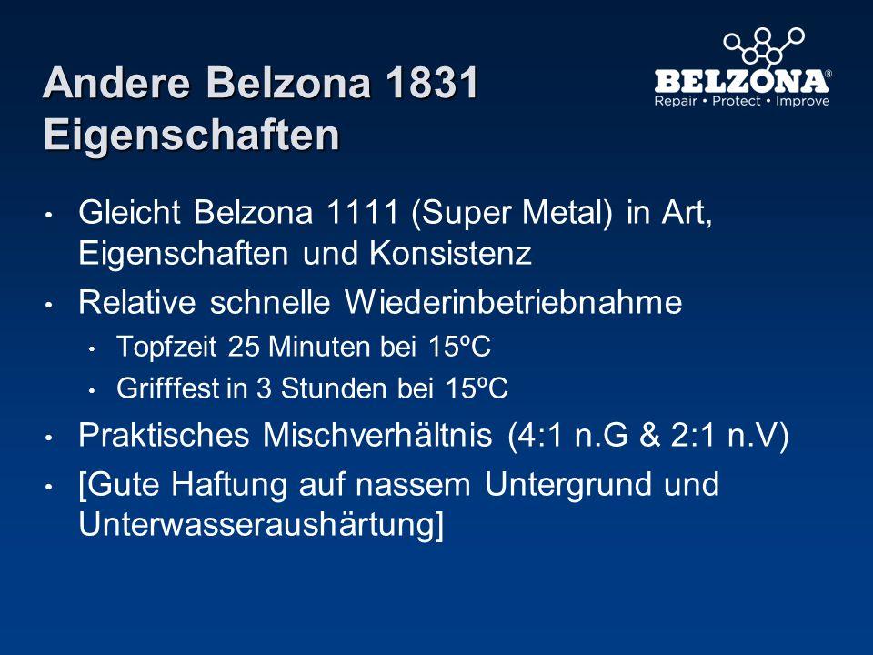 Andere Belzona 1831 Eigenschaften Gleicht Belzona 1111 (Super Metal) in Art, Eigenschaften und Konsistenz Relative schnelle Wiederinbetriebnahme Topfz