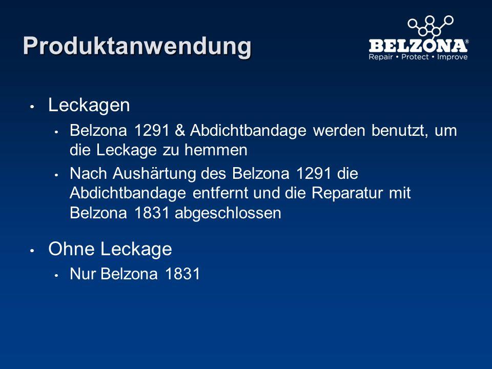 Produktanwendung Leckagen Belzona 1291 & Abdichtbandage werden benutzt, um die Leckage zu hemmen Nach Aushärtung des Belzona 1291 die Abdichtbandage e