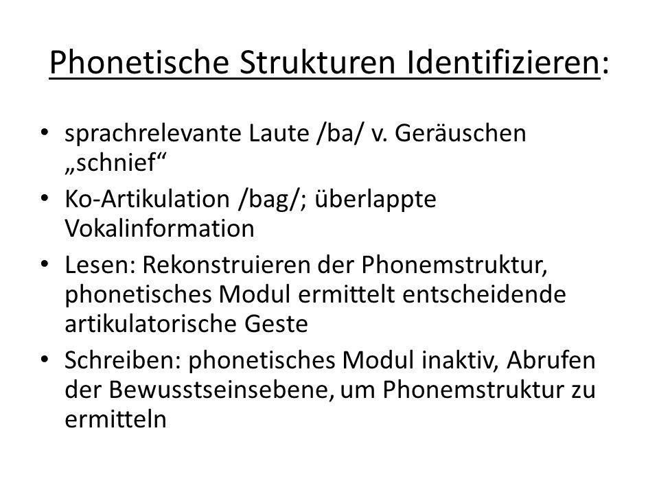 Phonetische Strukturen Identifizieren: sprachrelevante Laute /ba/ v. Geräuschen schnief Ko-Artikulation /bag/; überlappte Vokalinformation Lesen: Reko