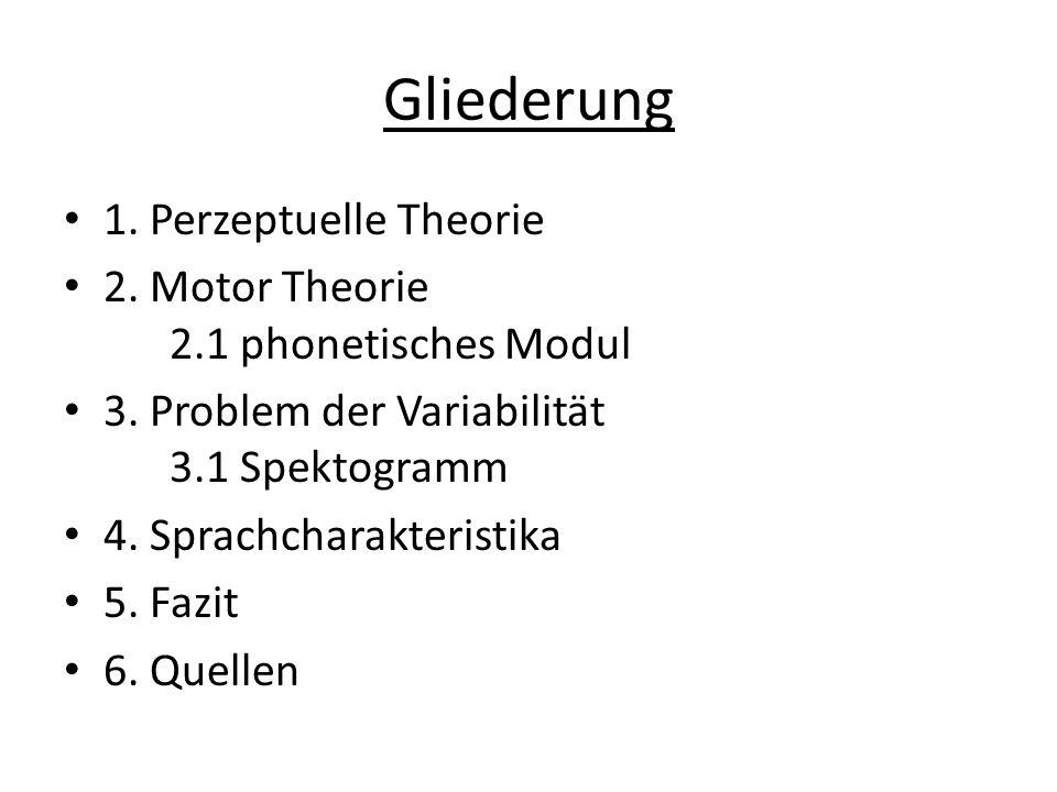 Gliederung 1. Perzeptuelle Theorie 2. Motor Theorie 2.1 phonetisches Modul 3. Problem der Variabilität 3.1 Spektogramm 4. Sprachcharakteristika 5. Faz