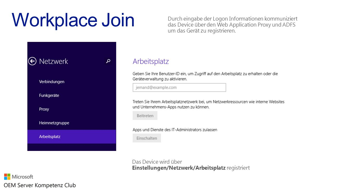 Das Device wird über Einstellungen/Netzwerk/Arbeitsplatz registriert Durch eingabe der Logon Informationen kommuniziert das Device über den Web Applic