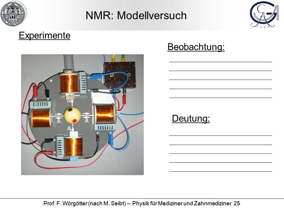 Prof. F. Wörgötter (nach M. Seibt) -- Physik für Mediziner und Zahnmediziner 25 NMR: Modellversuch Beobachtung: Deutung: Experimente