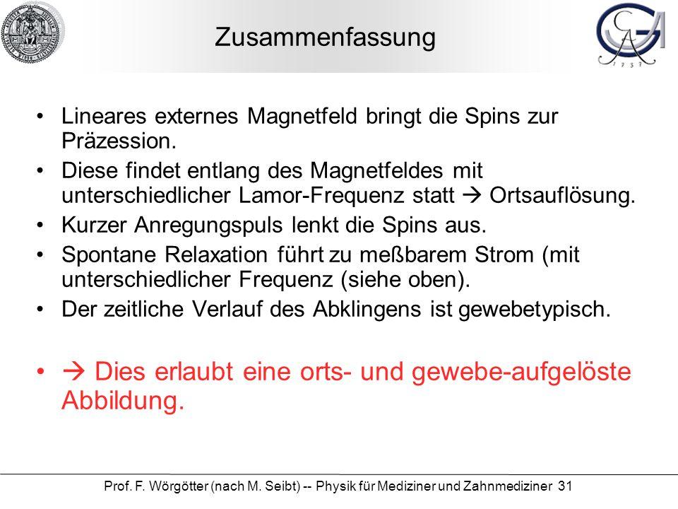 Prof. F. Wörgötter (nach M. Seibt) -- Physik für Mediziner und Zahnmediziner 31 Zusammenfassung Lineares externes Magnetfeld bringt die Spins zur Präz
