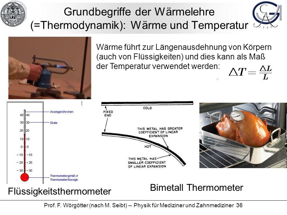 Prof. F. Wörgötter (nach M. Seibt) -- Physik für Mediziner und Zahnmediziner 36 Grundbegriffe der Wärmelehre (=Thermodynamik): Wärme und Temperatur Fl