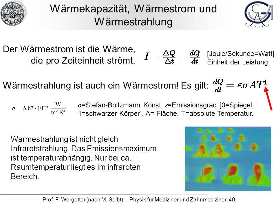 Prof. F. Wörgötter (nach M. Seibt) -- Physik für Mediziner und Zahnmediziner 40 Wärmekapazität, Wärmestrom und Wärmestrahlung Der Wärmestrom ist die W