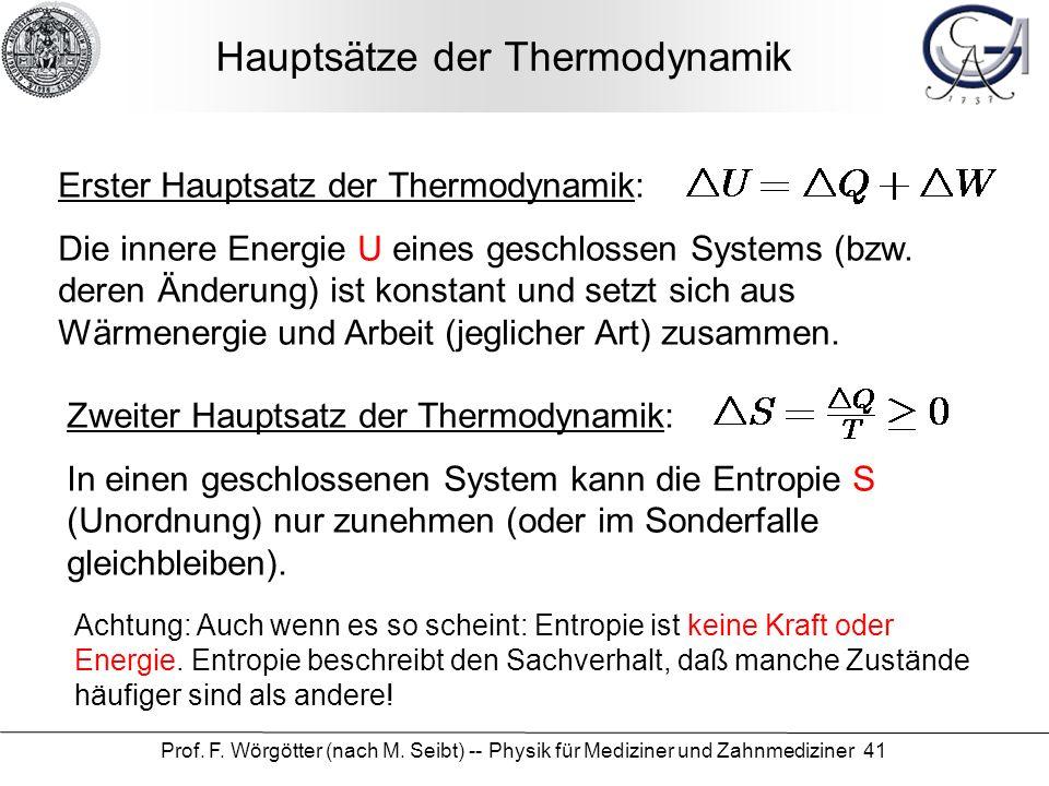 Prof. F. Wörgötter (nach M. Seibt) -- Physik für Mediziner und Zahnmediziner 41 Hauptsätze der Thermodynamik Erster Hauptsatz der Thermodynamik: Die i