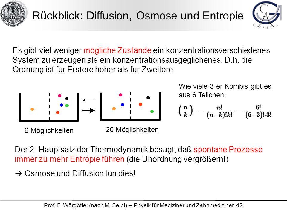 Prof. F. Wörgötter (nach M. Seibt) -- Physik für Mediziner und Zahnmediziner 42 Rückblick: Diffusion, Osmose und Entropie Der 2. Hauptsatz der Thermod