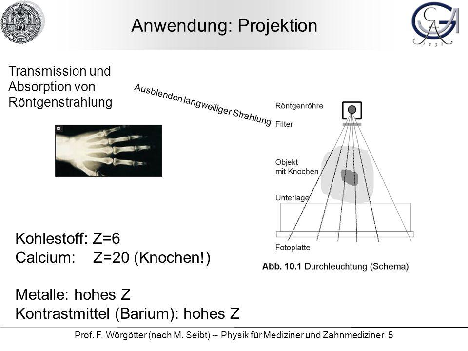 Prof. F. Wörgötter (nach M. Seibt) -- Physik für Mediziner und Zahnmediziner 5 Anwendung: Projektion Transmission und Absorption von Röntgenstrahlung