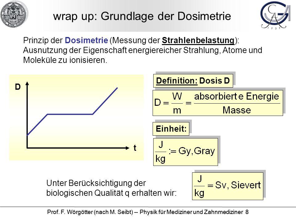 Prof. F. Wörgötter (nach M. Seibt) -- Physik für Mediziner und Zahnmediziner 8 wrap up: Grundlage der Dosimetrie Prinzip der Dosimetrie (Messung der S