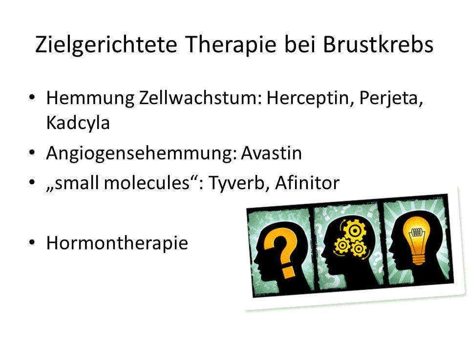 Zielgerichtete Therapie bei Brustkrebs Hemmung Zellwachstum: Herceptin, Perjeta, Kadcyla Angiogensehemmung: Avastin small molecules: Tyverb, Afinitor