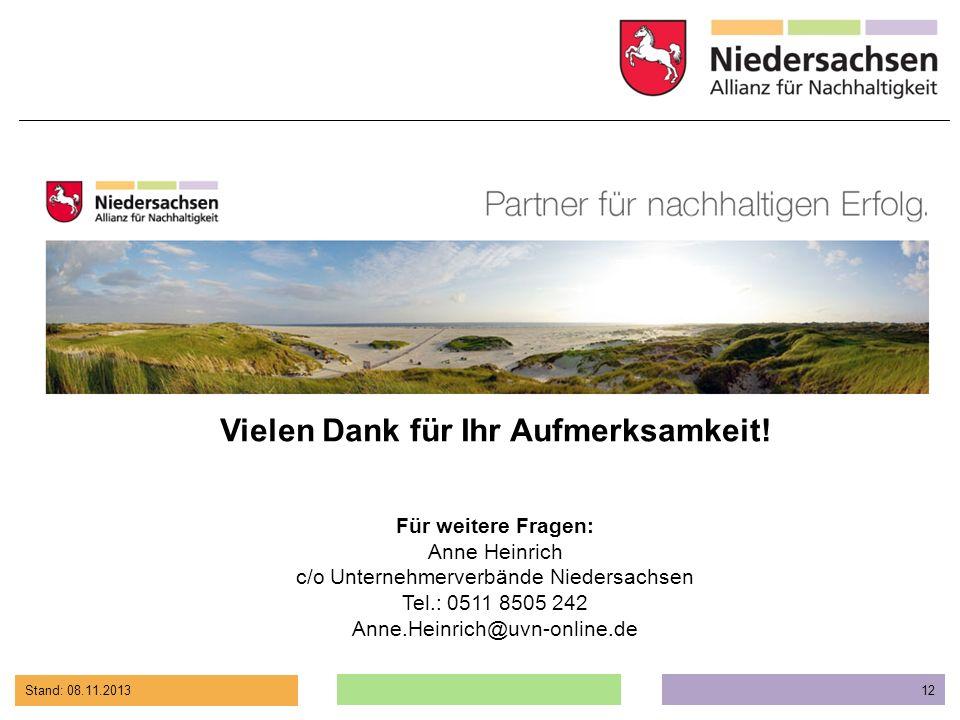 Stand: 08.11.2013 12 Vielen Dank für Ihr Aufmerksamkeit! Für weitere Fragen: Anne Heinrich c/o Unternehmerverbände Niedersachsen Tel.: 0511 8505 242 A