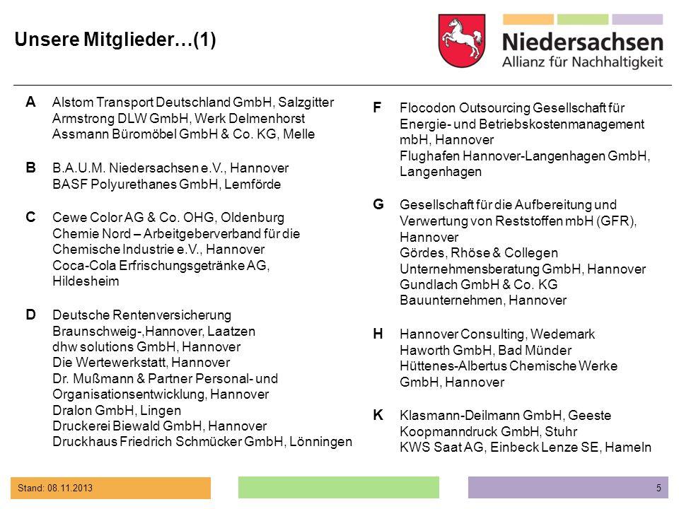 Stand: 08.11.2013 5 A Alstom Transport Deutschland GmbH, Salzgitter Armstrong DLW GmbH, Werk Delmenhorst Assmann Büromöbel GmbH & Co. KG, Melle B B.A.