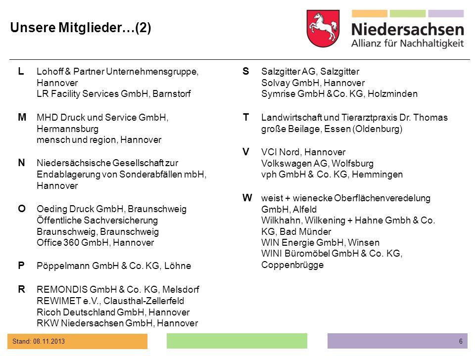 Stand: 08.11.2013 6 L Lohoff & Partner Unternehmensgruppe, Hannover LR Facility Services GmbH, Barnstorf M MHD Druck und Service GmbH, Hermannsburg me