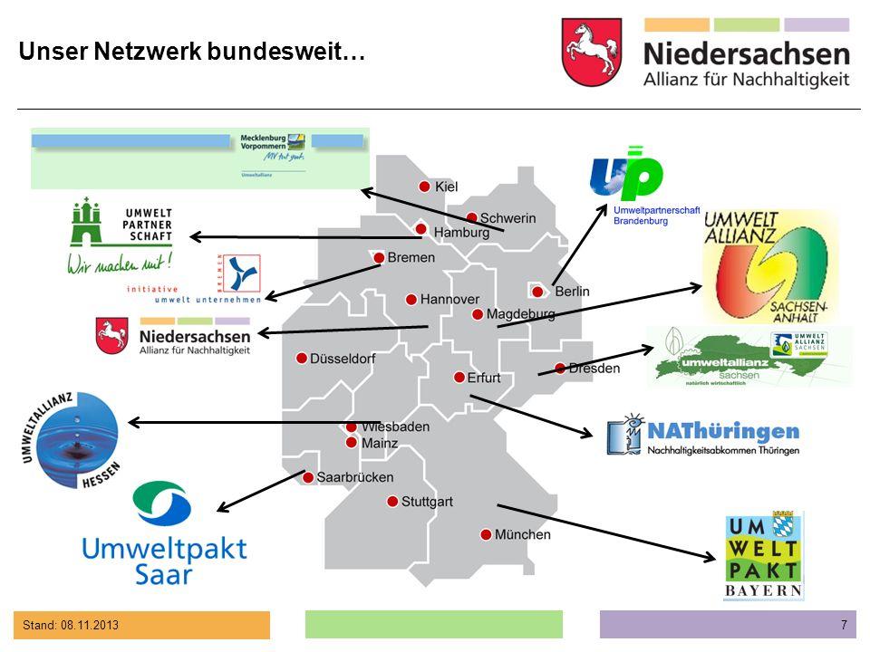 Stand: 08.11.2013 8 Die Niedersachsen Allianz für Nachhaltigkeit…...