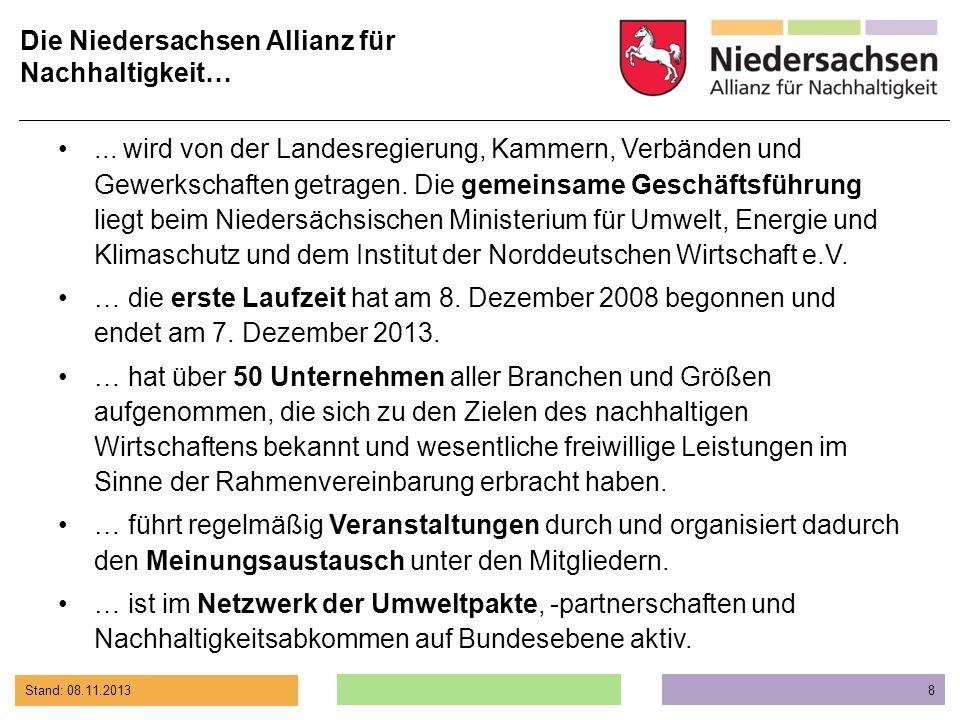 Stand: 08.11.2013 8 Die Niedersachsen Allianz für Nachhaltigkeit…... wird von der Landesregierung, Kammern, Verbänden und Gewerkschaften getragen. Die