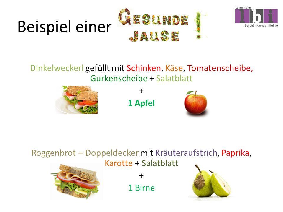 Beispiel einer Dinkelweckerl gefüllt mit Schinken, Käse, Tomatenscheibe, Gurkenscheibe + Salatblatt + 1 Apfel Roggenbrot – Doppeldecker mit Kräuteraufstrich, Paprika, Karotte + Salatblatt + 1 Birne