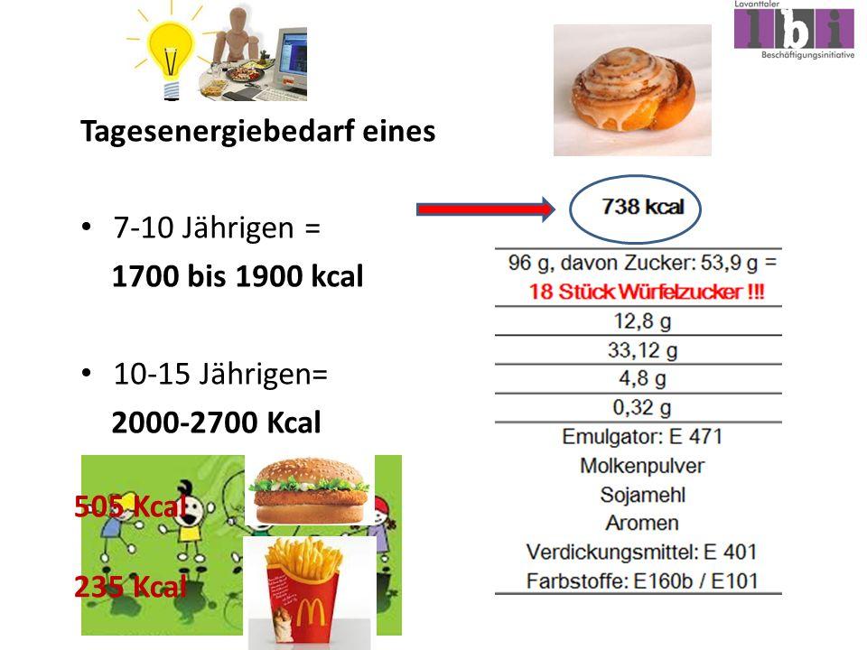 Tagesenergiebedarf eines 7-10 Jährigen = 1700 bis 1900 kcal 10-15 Jährigen= 2000-2700 Kcal 505 Kcal 235 Kcal