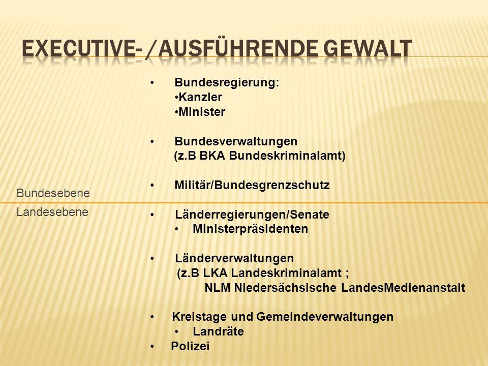 Bundesregierung: Kanzler Minister Bundesverwaltungen (z.B BKA Bundeskriminalamt) Militär/Bundesgrenzschutz Länderregierungen/Senate Ministerpräsidente