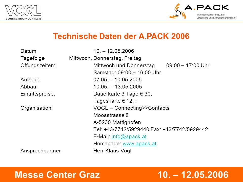 16 Messe Center Graz 10. – 12.05.2006 Technische Daten der A.PACK 2006 Datum 10. – 12.05.2006 TagefolgeMittwoch, Donnerstag, Freitag Öffungszeiten:Mit