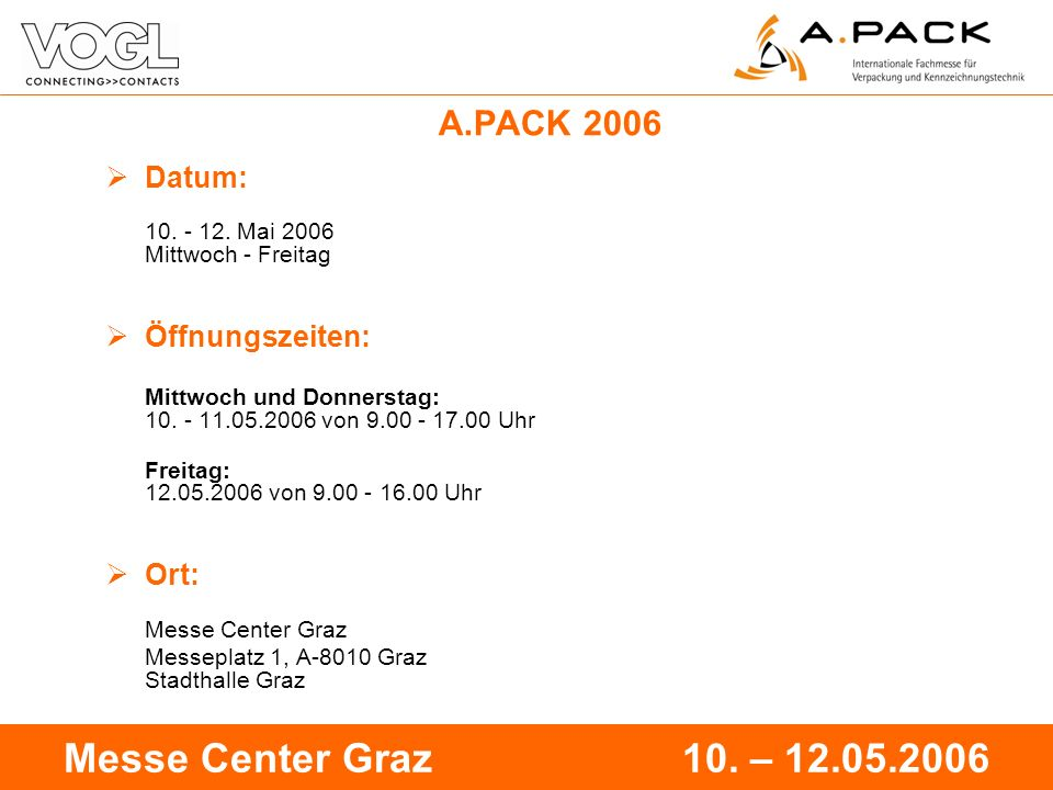 2 Messe Center Graz 10. – 12.05.2006 A.PACK 2006 Datum: 10.