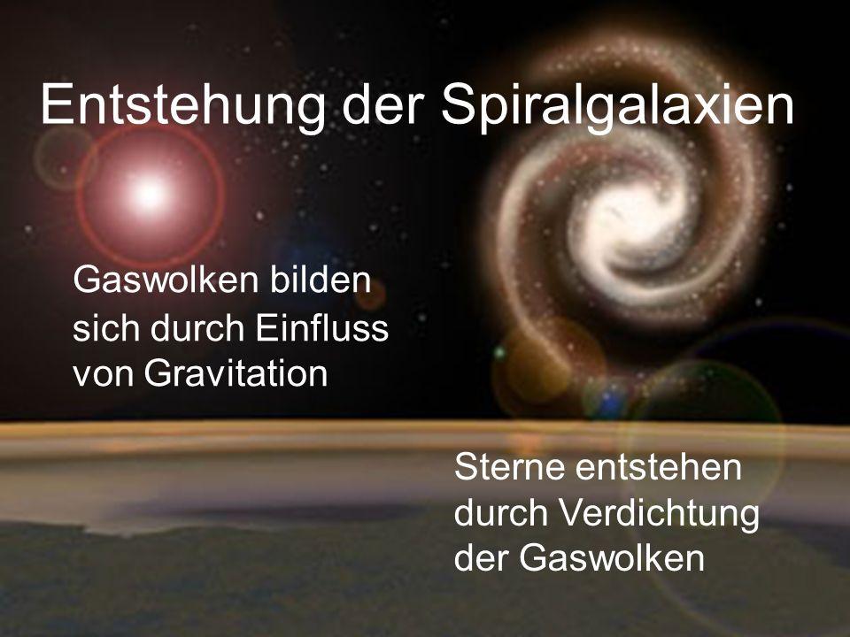 Entstehung der Spiralgalaxien Gaswolken bilden sich durch Einfluss von Gravitation Sterne entstehen durch Verdichtung der Gaswolken