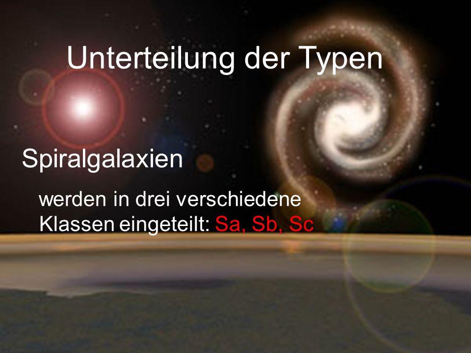 Unterteilung der Typen Spiralgalaxien werden in drei verschiedene Klassen eingeteilt: Sa, Sb, Sc
