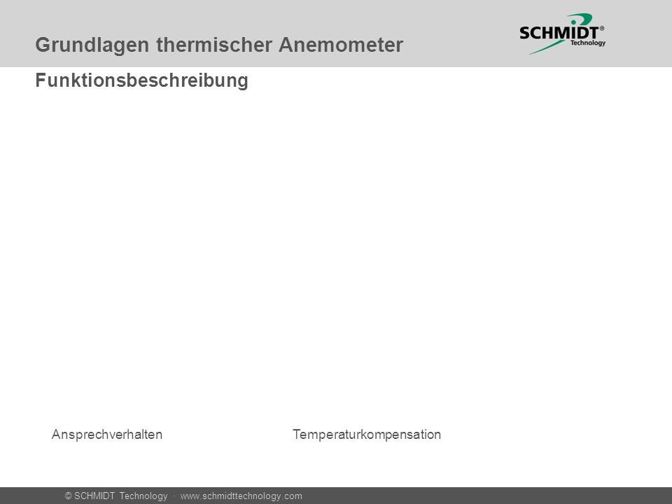 © SCHMIDT Technology · www.schmidttechnology.com Grundlagen thermischer Anemometer Normalgeschwindigkeit und wahre Geschwindigkeit Druck = 1013,25 hPa bei 20°C Normale Molekül-Dichte Wn = 1 m/sW= 1m/s Druck = 2026,50 hPa bei 20°C Doppelte Molekül-Dichte Wn = 2 m/sW= 1m/s Oder: Warum Flügelrad und Thermisches Anomometer nicht immer das gleiche Anzeigen