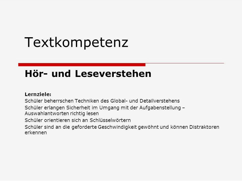 Textkompetenz Aufgabe 2 – Arbeit an Texten Partnerarbeit: Ergänzt die Sätze, so dass zusammenhängende Absätze entstehen.
